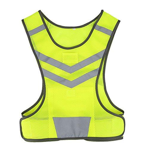 Tbest Chaleco Reflectante de Seguridad,Chaleco Reflectante Bicicleta Ciclismo Ajustable Alta Visibilidad Deportes para Al Aire Libre Correr Senderismo Footing Mujer Hombre,Amarillo Fluorescente M