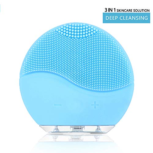 Facial Cleansing Brush, Sonic Vibration Facial Brush, Waterproof Face Brush for Deep Cleaning, Gentle Exfoliating, Blackhead Removing and Massaging (Blue)