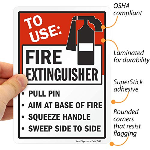 "SmartSign ""to Use Fire Extinguisher - Pull Pin, Aim at Base of Fire, Squeeze Handle, Sweep Side to Side"" Label 