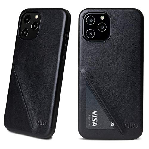 Alto Metro 360 Leather Card Case Compatible with iPhone 12 and 12 Pro (6.1 inch), Drop Proof Italian Leather Wallet Case with Credit Card Holder Designed (Raven Black)