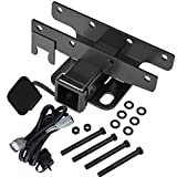 """Sulythw 2"""" Rear Bumper Towing Trailer Hitch Receiver Compatible with 2007-2018 Jeep Wrangler JK 2 Door & 4 Door Unlimited(Exclude 2018 JL Models) with Wiring Harness & Hitch Cover"""