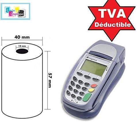 Lot de 20 - Bobine carte bancaire thermique 57 x 40 x 12 m -papier thermique pour CB 57 x 40 x 12 mm - Rouleaux machi...