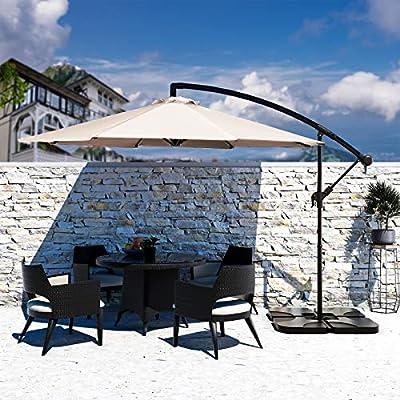Bumblr Offset Umbrella 10ft Cantilever Hanging Patio Umbrella Large Outdoor Market Umbrellas with Crank & Cross Base UV Protected Sun Shade for Garden Lawn Deck Backyard Pool, Beige