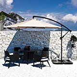 Bumblr Offset Umbrella 10ft Cantilever Hanging Patio Umbrella Large Outdoor Market Umbrellas with Crank & Cross Base UV Protected Sun Shade for Garden Lawn Deck Backyard Pool, Beige