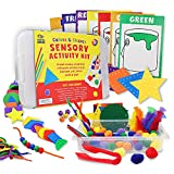 Jumbo 130 Colors and Shapes Educational Sensory Bin for Toddlers and Kids. Ideal sensory toy full of with lid, pipe cleaners, craft sticks, straws, feathers, pom poms with guided activites. Ages 1 3 5