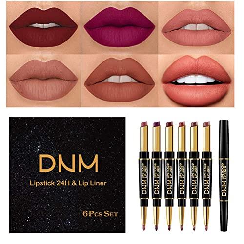 PIVOT 6 Farben Lippenkonturenstift Set, Doppelkopf Wasserdichter Lipliner Bleistift Lippenstift für Lady Mädchen Frauen Mutter Tages