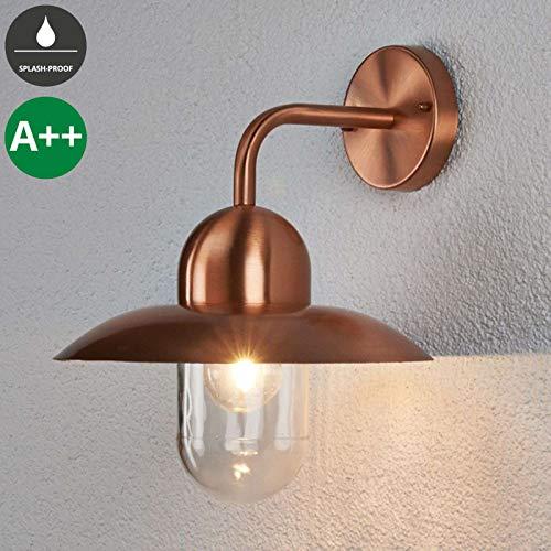 Lampenwelt Wandleuchte 'Camila' dimmbar (spritzwassergeschützt) (Modern) in Kupfer aus Metall (1 flammig, E27, A++) - Kupfer/Messing Wandleuchten, Wandlampe