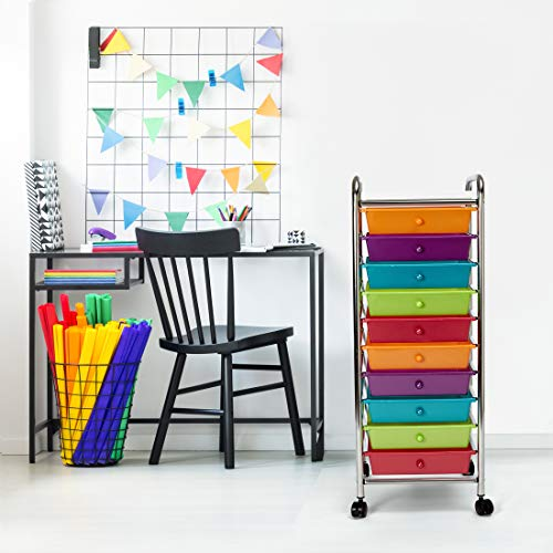 Seville Classics 10-Drawer Multipurpose Mobile Rolling Utility Storage Organizer with Tray Cart, Multicolor (Pearlized)