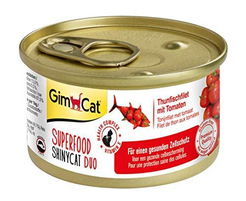 GimCat Superfood ShinyCat Duo Thunfisch mit Tomaten - Katzenfutter mit saftigem Filet ohne Zuckerzusatz für ausgewachsene Katzen - 24 Dosen (24 x 70 g)