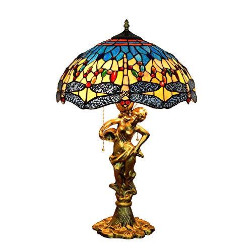 ZHI BEI Lámpara de Escritorio XXMK - 16'Lámpara de Mesa de vidrieras Tiffany Coloridas Lámparas Interior y Linternas Lámpara de Libélula Blue Glass Dragonfly Lámpara de Mesa Elegante y Brillante.