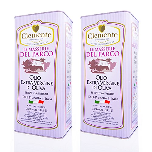 Huile Clemente - Offre Spéciale - 2 Boîtes d'Huile d'Olive Extra Vierge, 100% Italienne, Le Masserie del Parco, 5 Litres