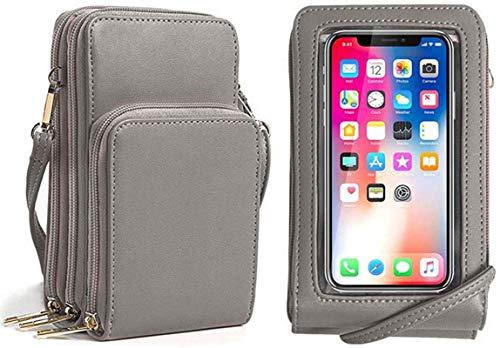 Bolso bandolera para teléfono móvil con pantalla táctil, resistente al agua, de piel, para mujer, estilo retro, con muchos compartimentos para tarjetas, color Marrón, talla 12 * 7 * 19 cm