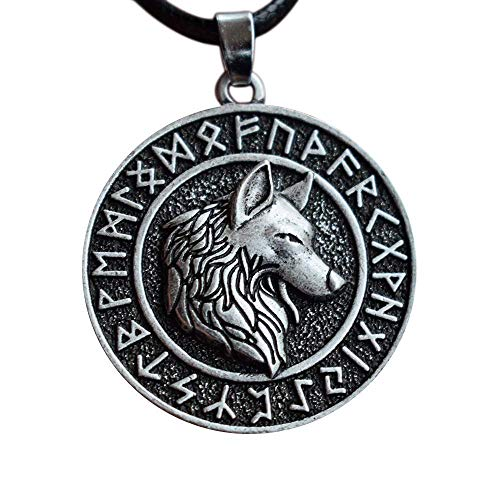 HAQUIL Viking Wolf Necklace, Viking Ancient Runes Medallion with Fenrir Wolf Head Pendant, Faux Leather Cord, Norse Necklace for Men