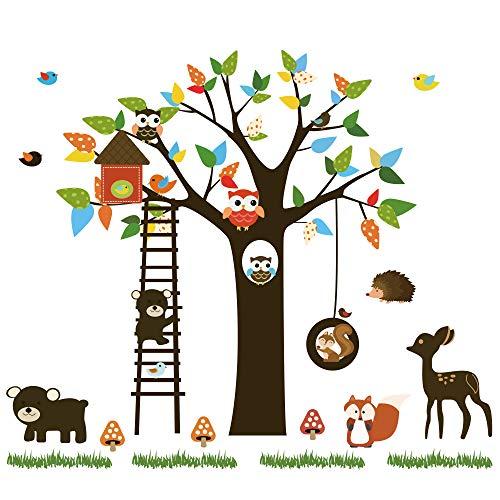 ufengke Pegatinas de Pared Animales del Bosque Vinilos Adhesivos Pared Árbol Búhos Decorativos para Habitación Infantiles Niños Bebé