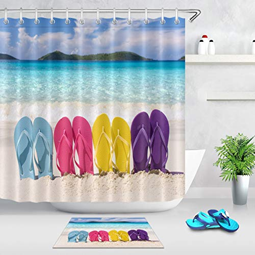 AshasdS Summer Beach Flip Flop Bathroom Decorative Shower Curtain Waterproof Fabric Bath Curtain with 12 Hooks Standard Size 60x72 Inch