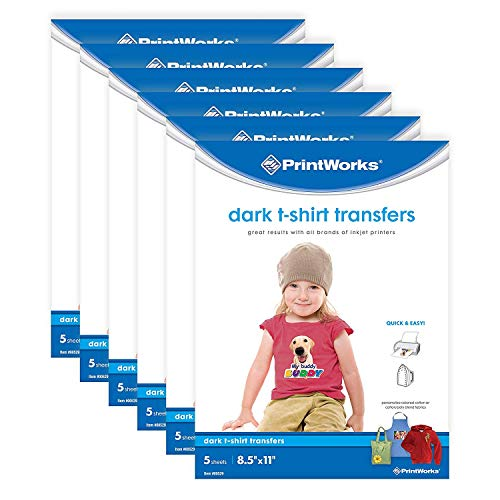 """Printworks Dark T-Shirt Transfers for Inkjet Printers, for Use on Dark and Light/White Fabrics, Photo Quality Prints, 6-Pack (30 Sheets), 8 ½"""" x 11"""" (00529C)"""
