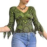 Mujeres Vintage Y2k Camiseta estética cuello en V manga irregular Crop Top Graphic Blusa Camisetas 90s Harajuku Streetwear, Verde Y2k, L
