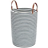 Amazon Brand – Umi Cesto De Almacenamiento ,tamaño grande,40(D) x 50(H)CM,63L, Cesto Para ColadaCon asa de cuero Para Salón Dormitorio Baño Plegable-Blue Stripes