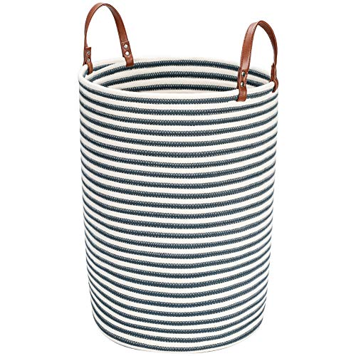 Amazon Brand – Umi Cesto De Ropa De Almacenamiento De Cuerda De Algodón Natural,tamaño grande,D40 x H50CM,63L, Cesto Para ColadaCon asa de cuero Para Salón Dormitorio Baño Plegable-Blue Stripes