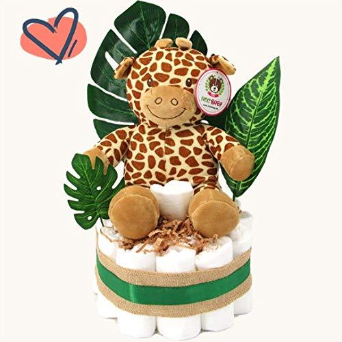 Günstige, neutrale Marken-Windeltorte für Mädchen und Jungen mit Spieluhr & gratis Grußkarte perfekt geeignet als Geschenk zur Geburt für Babyparty
