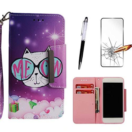 LG Stylo 4 Hülle/LG Q Stylus Hülle, KSHOP Kompatibel mit Handyhülle Premium PU Leder Flip Tasche Wallet Hülle mit Integrierten Kartensteckplätzen [Gifts: Screen Protector, Touch Pen] - Brille Katze