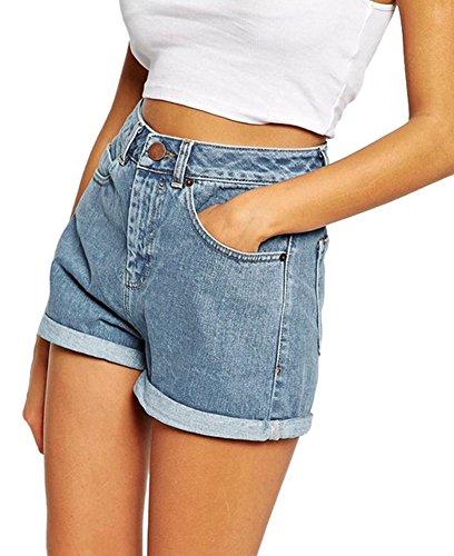 Minetom Sommer Damen Denim Shorts High Waist Hot Pants Lochjeans Vintage Baggy Basic Kurz Jeans Hose Kurzschlüsse mit Taschen (EU Medium, Hellblau)