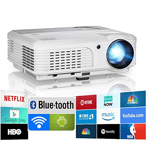 1080P HD WiFi Bluetooth Projector with Android HDMI USB RCA HiFi Speakers, Wireless Mirroring Projector Home Cinema Smart TV Projectors for iPhone Blu Ray DVD TV Stick PC Laptop Outdoor Movies Games