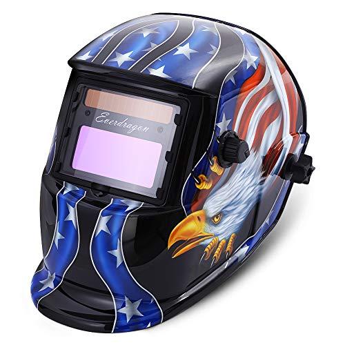 Welding Helmet Solar Powered, Auto Darkening Professional Hood with Adjustable Wide Shade Range 9-13 for Mig Tig Arc Grinding Plasma Cutting Welder Mask (AMERICAN EAGLE)