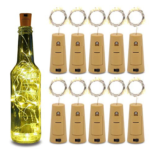 Betus 10 Pack Wine Bottles Cork String Lights - Battery Powered - Decorations for Garden, Wedding, Christmas & Party -...