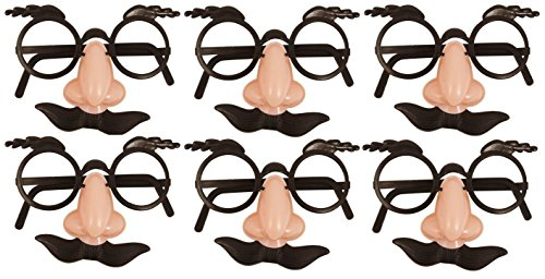 German Trendseller® - Spaß Brille mit Nase + Bart ┃ Dude ┃ Opa ┃ Professor ┃ Fasching ┃ Karneval ┃ Party Nasen