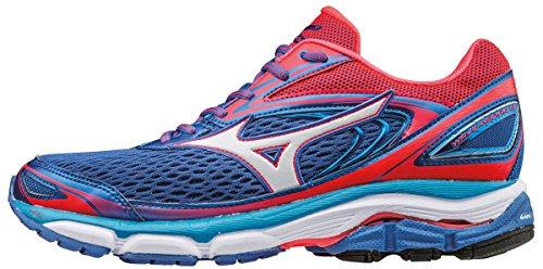 Mizuno Women's Wave Inspire 13 (W) Running Shoes, Strong Blue/White/Diva Pink, 4 UK 36 1/2 EU