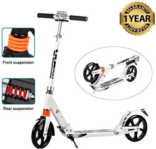 fiugsed Erwachsene/Kinde City Roller Scooter, Leicht Scooter T-Style Stabile Aus Aluminiumlegierung, Klapproller mit Scheibenbremse und 200mm großen Rädern (Weiß Upgrade)