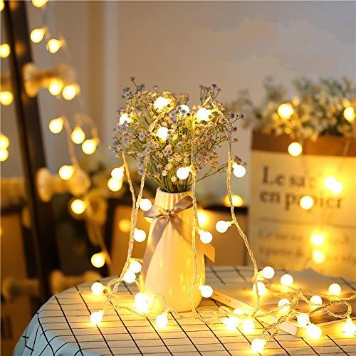 Myguru Guirlande Lumineuse 10M + 5M Câble d'Extension Extérieur Boules 100 LED Ampoule Guirlandes Lumineuses 8 Modes Décoration Fête, Noël, Mariage, Chambre, Terrasse, Jardin - Blanc Chaud