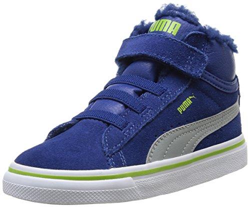Puma Mid Vulc FUR V Kids 354143, Unisex - Kinder Hohe Sneakers, Blau (Bleu (Limoges/Gray/Lime Green)), 20 EU (4 Kinder UK)