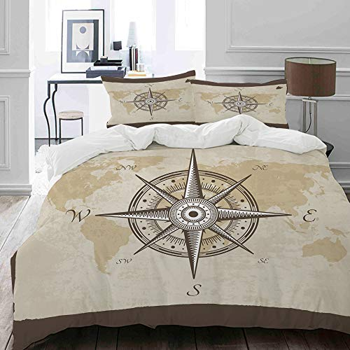 MIGAGA bedding - Duvet Cover Set, Nautical Compass on Background Old Map with Torn Border Frame Illustration,Microfibre Duvet Cover Set200 x 200cmwith 2 Pillowcase 50 X 75cm
