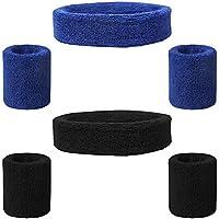FineGood - Juego de 6 muñequeras deportivas de algodón para hombre, mujer, ciclismo, correr, tenis, baloncesto, color negro y azul