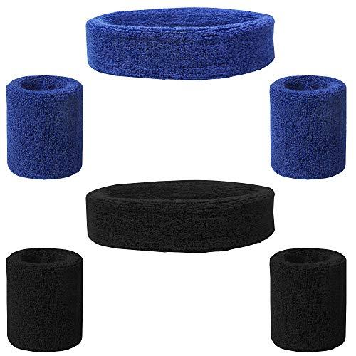 FineGood Juego de 6 bandas para el sudor, de algodón, para hombre, mujer, ciclismo, correr, tenis, baloncesto, color negro, azul
