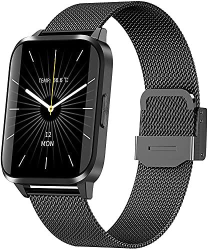 PKLG Smart Watch-Damen, 1,69 Zoll Touchscreen, Herzfrequenzschlaf Monitor mit Temperaturthermometer, IP67 wasserdichte Uhr, geeignet für Android iOS(Metalic Black)