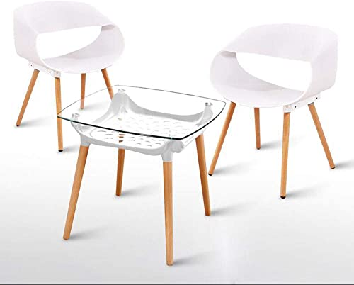 MOOMDDY Moderne Minimalistische Balkon Tisch Und Stühle Glas Quadratische Tabelle Platz Massivholz Esstisch Und Stuhl Kombination, Coffee-Shop,Combinationd