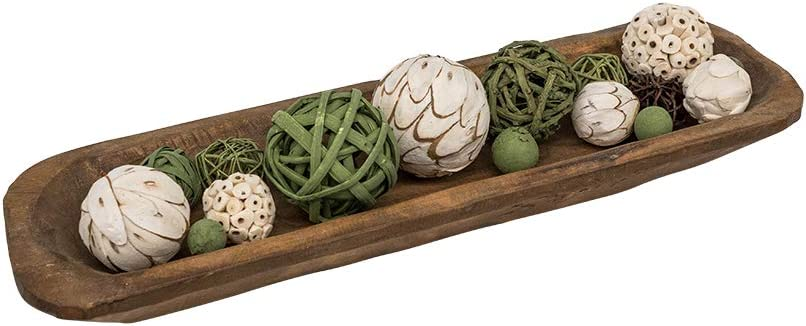 RELODECOR Long Wooden Dough Branded goods Bowls Centerpiece For Ca Hand Manufacturer regenerated product Decor