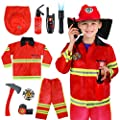 Meland Kids Fireman Costume Role Play Set - Firefighter Dress-up and Fireman Toys Accessories for Toddlers,Birthday Christmas Gifts for 3 4 5 6 7 Year Old Boys Girls by Meland