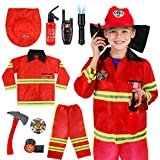 Meland Kids Fireman Costume Role Play Set - Firefighter Dress-up and Fireman Toys Accessories for Toddlers,Birthday Christmas Gifts for 3 4 5 6 7 Year Old Boys Girls