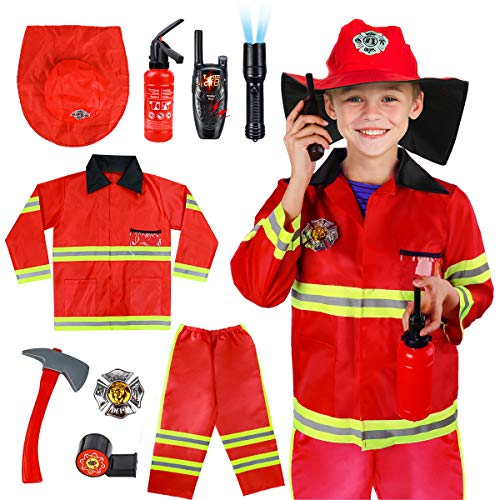 Kids Fireman Costume Role Play Set - Firefighter Dress-up and Fireman Toys Accessories for Toddlers, Birthday Christmas Gifts for 3 4 5 6 7 Year Old Boys Girls
