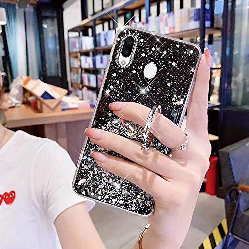 Herbests Kompatibel mit Samsung Galaxy M20 Hülle Mädchen Bling Diamant Glänzend Glitzer Stern Schutzhülle Ultra Dünn Weich Silikon Durchsichtig Handyhülle Case mit Ring Ständer Halter,Schwarz