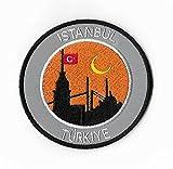Istanbul Türkei Patch 9cm Embroidered Iron on Badge Bergsteigen Klettern Trekking Türkiye Aufnäher Reisen Souvenir DIY Tasche Rucksack T-Shirt Jacke Gepäck