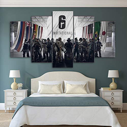 BOYH HD gedruckt 5 Stücke Leinwand Malerei Tom Clancy's Rainbow Six Siege Poster Modern Wandkunst Wohnzimmer Wohnkultur,A,30×50×2+30×70×2+30×80×1
