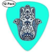 Mal de ojo Judío Hamsa Mano Flor azul Ultraligero Impreso Redondo Plano Plástico suave Jazz Eléctrico Acústico Bajo Guitarra Accesorios de selección Paquete de variedad