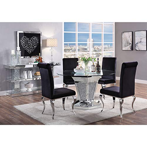 ACME Furniture Dining Table, Mirrored, Faux Diamonds and Clear Glass