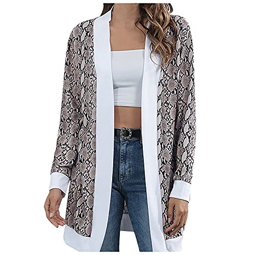 Leopard/Striped Sweater Cardigan for Women Oversized Knitted Long Sleeve Open Front Tops Shirt Blouse Plus Size Fashion Comfy Soft Autumn And Winter Warm Lightweight Coat Jacket(Coffee,Medium)
