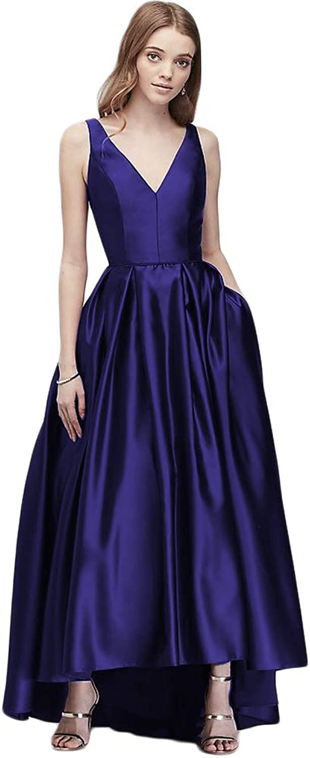 LiBridal Women's Satin High Low Formal Prom Dress Long V Neck Evening Wedding Party Gowns with Pocktes
